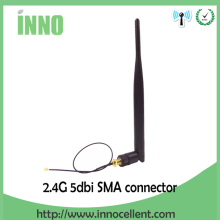 Free shipping 2.4GHz 5dBi WiFi Antenna Aerial RP-SMA Male Wireless Router +21cm PCI U.FL IPX to RP SMA Male Pigtail Cable(China)