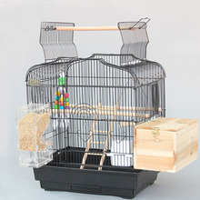 Super Larger Metal Iron Bird Cages Black White Parrot Cage Pet Cages Aviaries For Birds With Parrot Toys A07-2(China)