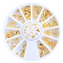 Buy 1Wheel 12Styles Cross Moon Star Nail Art Rivet Gold Nail Studs Rhinestones Manicure 3D Nail Art Decorations Nails Charms for $1.71 in AliExpress store