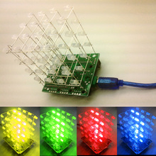 New  LED DIY KIT 3d  Light cubeeds Electronic DIY Kit /Junior 3D display 4X4X4 high quality