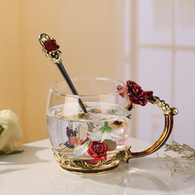 301-400ml Fashion chrysanthemum enamel glass Drinking glass cup Lead-free glass In stock Custom gift wholesale business gift(China)