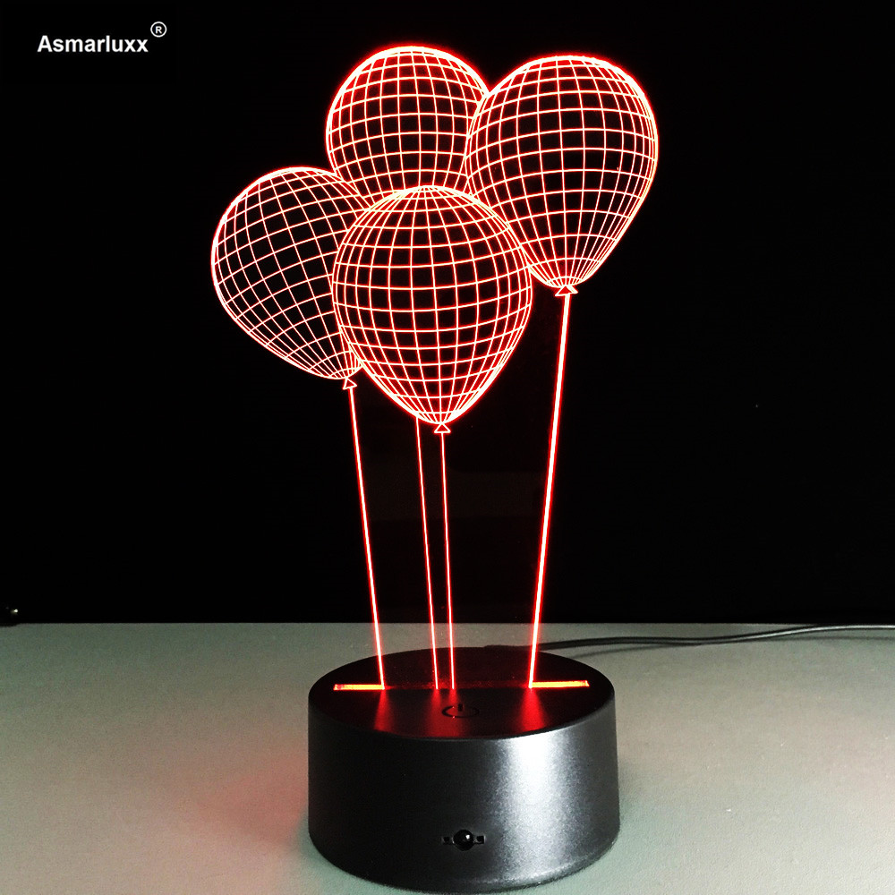 Balloons 3D Night Light Living Dining Room Decoration Lighting LED Desk Table Lamp Kids Friends Gift Valentine's Day Mood Lights(China (Mainland))