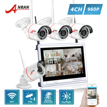 ANRAN P2P 4CH WIFI 12 Inch LCD Monitor NVR 24 IR Mini Bullet Surveillance Security 960P Wireless IP Camera System HDD Optional(China)