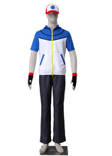 Pocket Game COS Pokemon Ash Ketchum Cosplay Costume with Gloves and Vest Hat Uniform Adult Unisex(China)