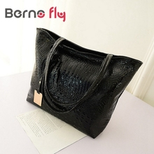 BERNO FLY Silver Gold Black Crocodile Handbag for Women PU Leather Casual Tote Bag Ladies Bags Sac Fashion women shoulder bag