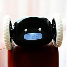Digital LCD Running Alarm Clock Creative Runaway Clock with Moving Wheels For kids Gifts(China)