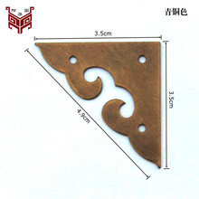 35MM Chinese antique pure copper Furniture copper fittings Jewelry box wooden cabinet Copper wrap angle Corner Paste Kok 20pcs(China)