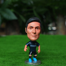 Soccerwe Classic Edition 6.5 cm Height Resin Football Star Doll Inter Milan 8 Zanetti Blue Black Kit Collections
