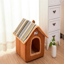 Fashion Removable Cover Dog House Pet Bed Warm Soft Dog Kennel Nest Cushion Cat Puppy House For Small Medium Dogs Cama Perro(China)