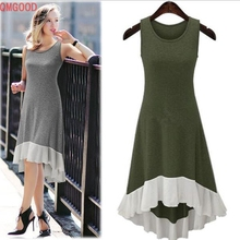 QMGOOD Knitted Irregular Vest Long Dresses sleeveless Dresses Women's Summer Clothing Casual Army Green Gray S M L XXL XXXL