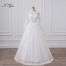 ADLN Charming Long Sleeve Wedding Dress O-neck A-line Arabic Style Muslim Lace Bridal Gown Vestidos de Novia(China)