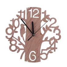Simple Fashion Round Wall Clock Wood Life Tree Retro Clocks Home Decorate Watch For Living Room Bedroom Office @LS