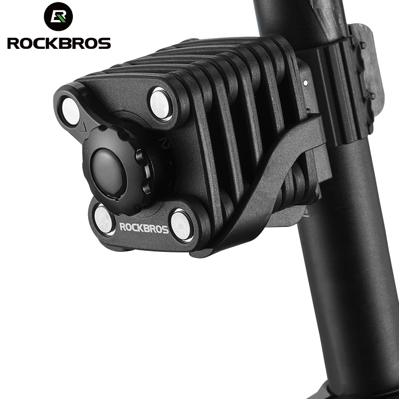 ROCKBROS MTB Bike Bicycle Password Lock Mini Foldable Portable High Security Drill Resistant Key Theft Cube Cylinder Lock bmx<br>