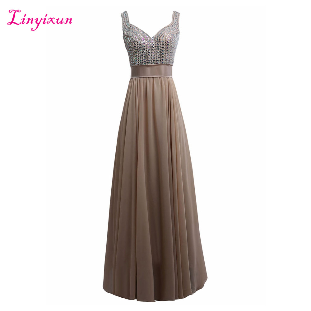 Linyixun Real Photo A line Prom Dresses 2017 V Neck Sleeveless Beaded Prom Gowns Floor Length Vintage Sexy Evening Party Dresses
