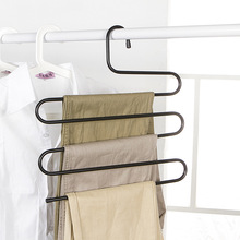 S Shape 5 Layer Multi-function Magic Trousers Rack Multilayer Tie Clothes Scarf Hanger Stainless steel Suit Pants Storage Rack(China)