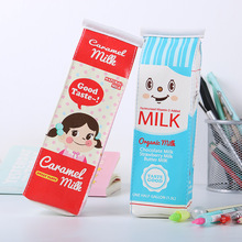 1 PC Creative Simulation Milk Box Pencil Bags Stationery Storage Organizer School Office Supply Escolar Papelaria