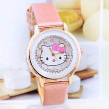 Hot sale Gogoey Brand cute hello kitty watch children women fashion crystal dress quartz wrist watch kt021