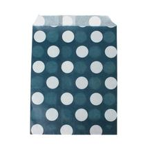 Paper Bag Party Food Safe Candy Favor Rectangle Blue Black Dot Pattern 18.4cm x 13.0cm ,20 PCs(China)