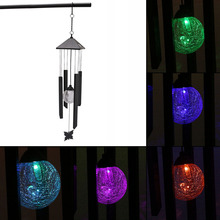 Garden Windchimes Garden Yard Decoration Solar Light Hanging Wind Chimes Solar Powered Color Changing LED Light(China)