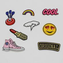 1PCS / lot lot of cool embroidery dart rainbow cartoon stickers iron sewing clothing topic clothing DIY logo sports shoes clothi