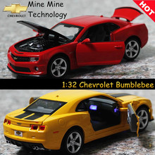 Double Horses 1:32 free shipping Chevrolet Bumblebee Alloy Diecast Car Model Pull Back Toy Car model Electronic Car Kids Toys