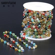 Buy Colorful Spinel Rosary Style Mix Color Beaded Chain Gold Plating Wire Wrapped Glass Bead Rosary Chain Faceted Beads Jewelry for $18.00 in AliExpress store