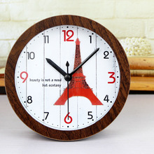 European Antique Retro Style Red Eiffel Tower Desk Clock Arabic Numbers Table Clock Alarm Clock Silent Clock