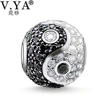 Unique Zircon Beads Yin&Yang Beads Charms fit Pandora Necklace Bracelet for Women Men Jewelry Accessories TZ202