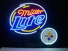 "Business NEON SIGN Signboard For PITTSBURGH STEELERS FOOTBALL MILLER LITE GLASS Tube BEER BAR PUB Club Shop Light Signage 17*14""(China)"