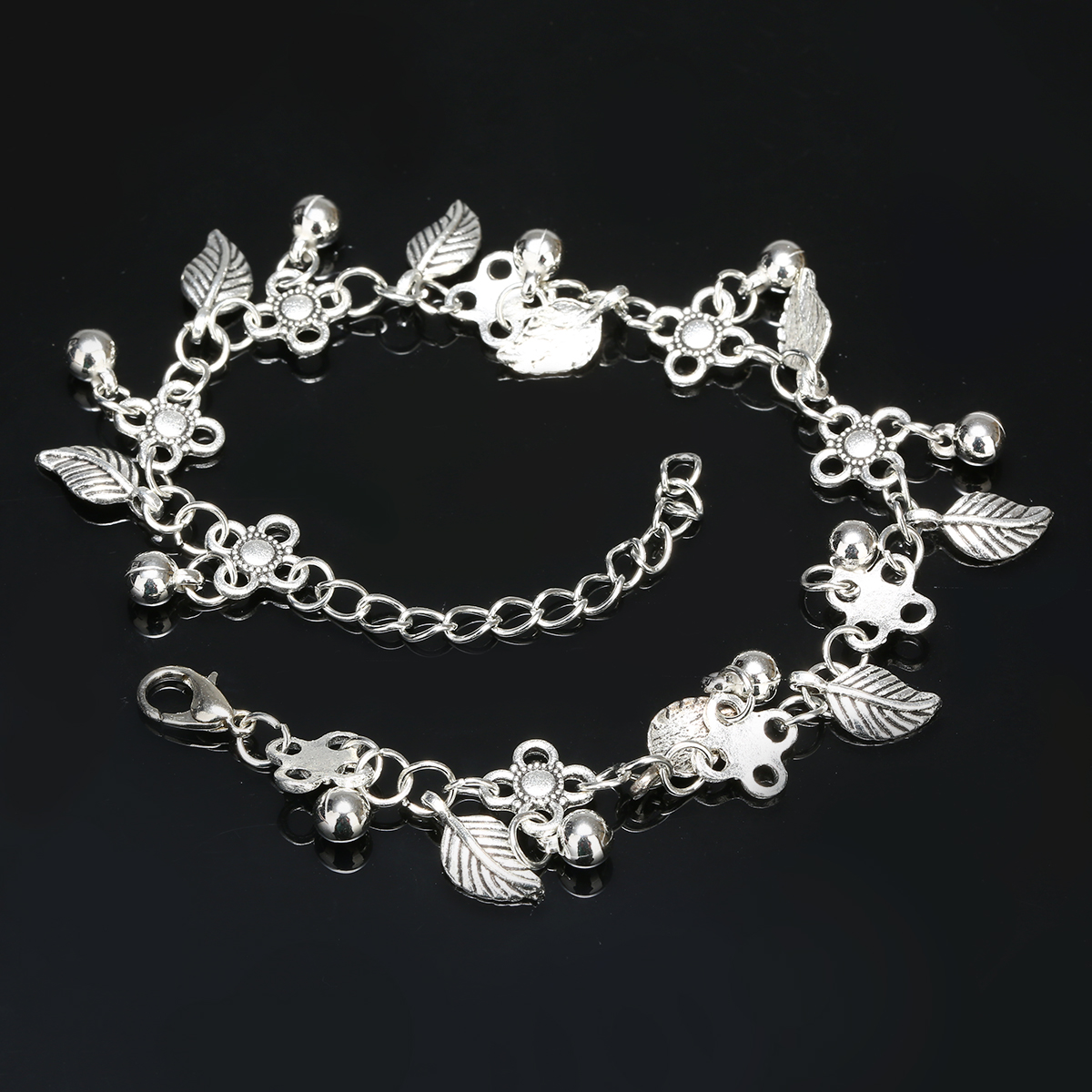 Bohemia Silver Water Drops Leaf Tassel Anklet Foot Chain New Design Drop Ankle Bracelet Summer Ocean Beach Jewelry Shellhard