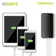 High quality Universal 3USB 20000mah Power Bank External Bateria Charger For iPhone samsung xiaomi all Smartphone