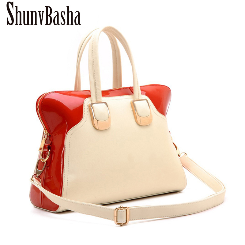 New ShunvBasha brand Patent leather bag vintage handbag womens medium big tote bags female crossbody bags for women handbag<br>