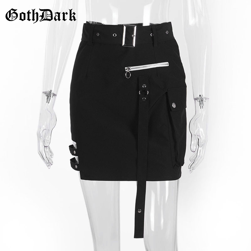 Goth Dark Solid Black Patchwork Hollow Out Skirts For Women Gothic Summer 19 Hole Grunge Eyelet Zipper Skirt Fashion Punk 4