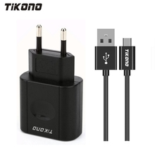 Tikono 5V 2A Universal USB Fast Charger for iPhone Samsung Xiaomi Sony iPad Tablet Travel Wall Charger with Micro Charging Cable(China)