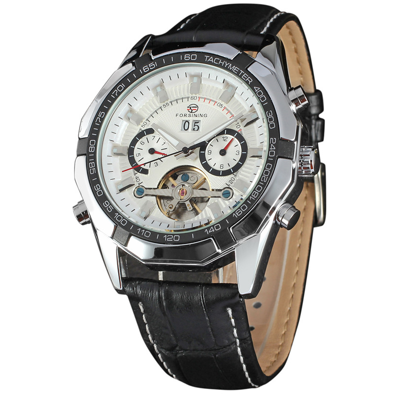 Forsining Watch Mens Montre Homme Day/Week/24Hours Tourbillion Auto Mechanical PU Leather Watches Wristwatch Gift Box Free Ship<br>