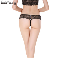 Buy BabYoung 2017 Sexy Thong Lace G String Femme Underwear Women Panties Cute Lingerie Female Calcinh Culotte Ladies Crotchless M~XL