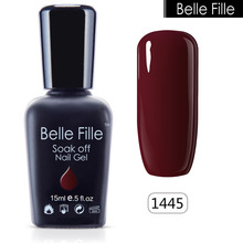 Belle Fille UV Gelpolish  Base Top Coat Gel Nail Polish UV LED Vampire Blood Red Wine Nail Polish Black Color Soak Off Varnish
