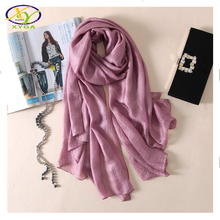 1PC 2017S pring New Design Korea Style Soft Imitated Silk Women Long Scarf Woman New Imitated Silk & Linen Big Pashminas Shawl