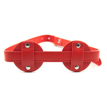Buy Adjustable Bondage Restraint Eye Mask PU Leather Blindfold Fetish Cosplay Mask Flirting Sex Toys Adult BDSM Sex Products