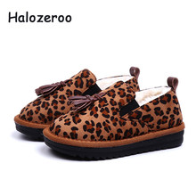 Halozeroo New Winter Baby Girl Flock Snow Boots Children Leopard Soft Boots  Toddler Fur Warm Shoes Kid Brand Tassel Black Boots d28495d08183