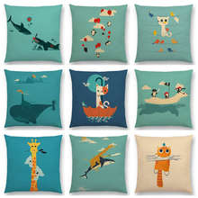 Cute Cartoon Animals Happy Friends Shark Cat Bird Giraffe Penguin Whale Polar Bear Cushion Cover Decor Sofa Throw Pillow Case(China)