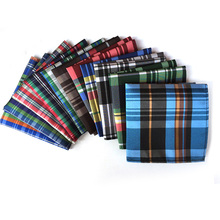 Factory 11 Color Men's 100% Silk Rainbow Plaid Pocket Square Chest Towel Handkerchiefs Christmas Wedding Party Banquet Hankies