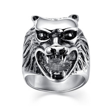 Vintage Wolf Head Finger Rings Mens Stainless Steel Signet Rings For Fashion Party Jewelry Punk Style Rings