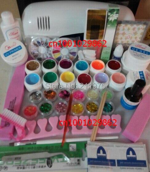 DIY Full Set 12 color Nail UV Builder Gel Kit 9W UV lamp kit Brush nail tips Soak Off Polish Manicure File Cleanser tool<br>