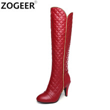 Plus size 44 Brand Designers Long Boots Women Fashion Soft PU Leather Women's Knee High Boots 2017 Winter Red White Shoes Women(China)