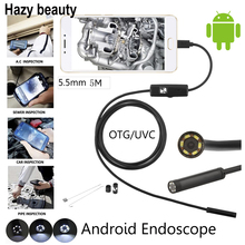 Hazy beauty 10pcs/lot Flexible Android PC USB Endoscope Inspection Camera 5.5MM 5M Cable HD Borescope Video Cam 6 Adjust LED(China)