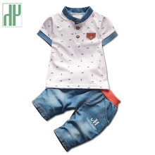 Children clothing gentleman summer baby boy clothes casual kids sport suits short-sleeved t-shirt+denim pants girl clothing sets(China)