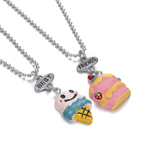 New Arrive Beat Friend Necklace Ice-cream And Cake Pendant Necklace Bead Chain Necklace jewelry lead nickel free
