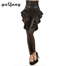 yuqung ruffles leggins women spandex faux leather rock punk Fashion sheer mesh patchwork high waist fitness flounced leggings