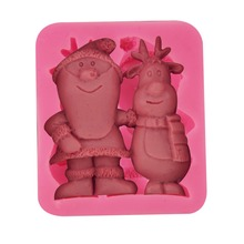 Christmas Brother Santa & Deer Silicone Fondant Soap 3D Cake Mold Cupcake Jelly Candy Chocolate Decoration Baking Tool FQ3224